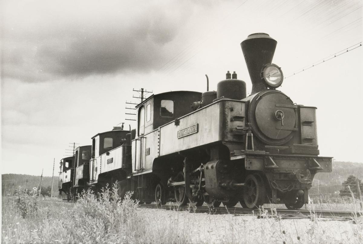 Lok 5 Bjørkelangen.(t.v),lok 4 Setskogen,lok 2 Urskog,lok 6 Høland. Lokomotivene er trukket ut på linjen mellom Bjørkelangen og Hornåseng for fotografering.