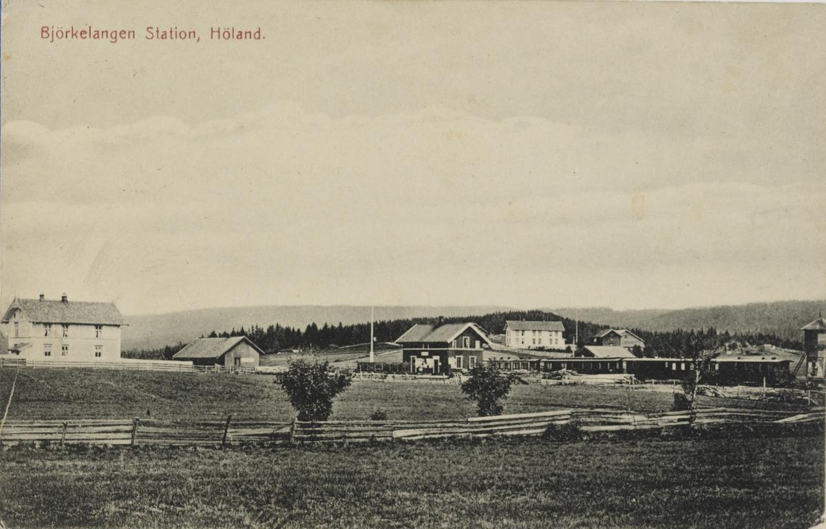 Oversiktsbilde fra Bjørkelangen stasjon m/godshus og vanntårn og fire av banens personvogner.