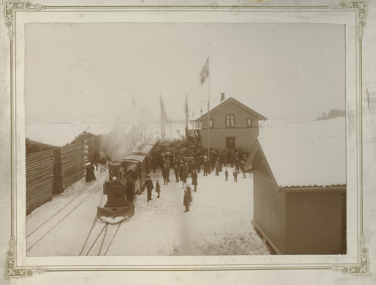 Åpningstoget på Urskogbanen ankommer Bjørkelangen stasjon 14. november 1896. Toget trekkes av lok 2 Eidsverket. Store plankelagre som avventer transport med den nyåpnede banen ligger på stasjonen.