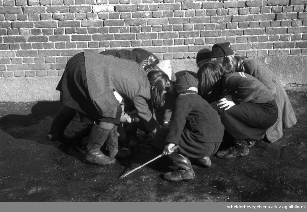 Barn kaster på stikka,.mars 1948