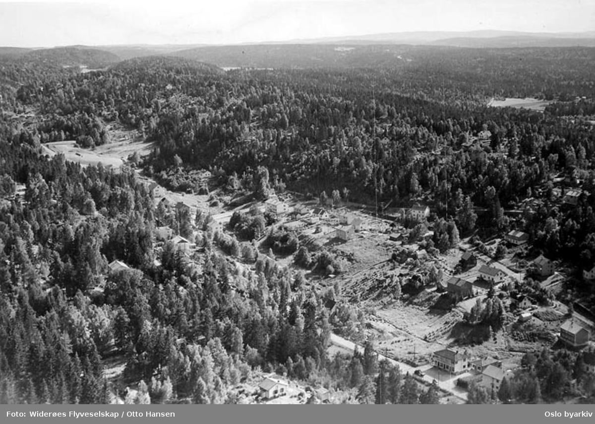Prinsdal, Nedre Prinsdals vei, Berglyveien (Flyfoto). Bildets originale tittel Prinsdalen er misvisende, da korrekt stedsnavn er Prinsdal.