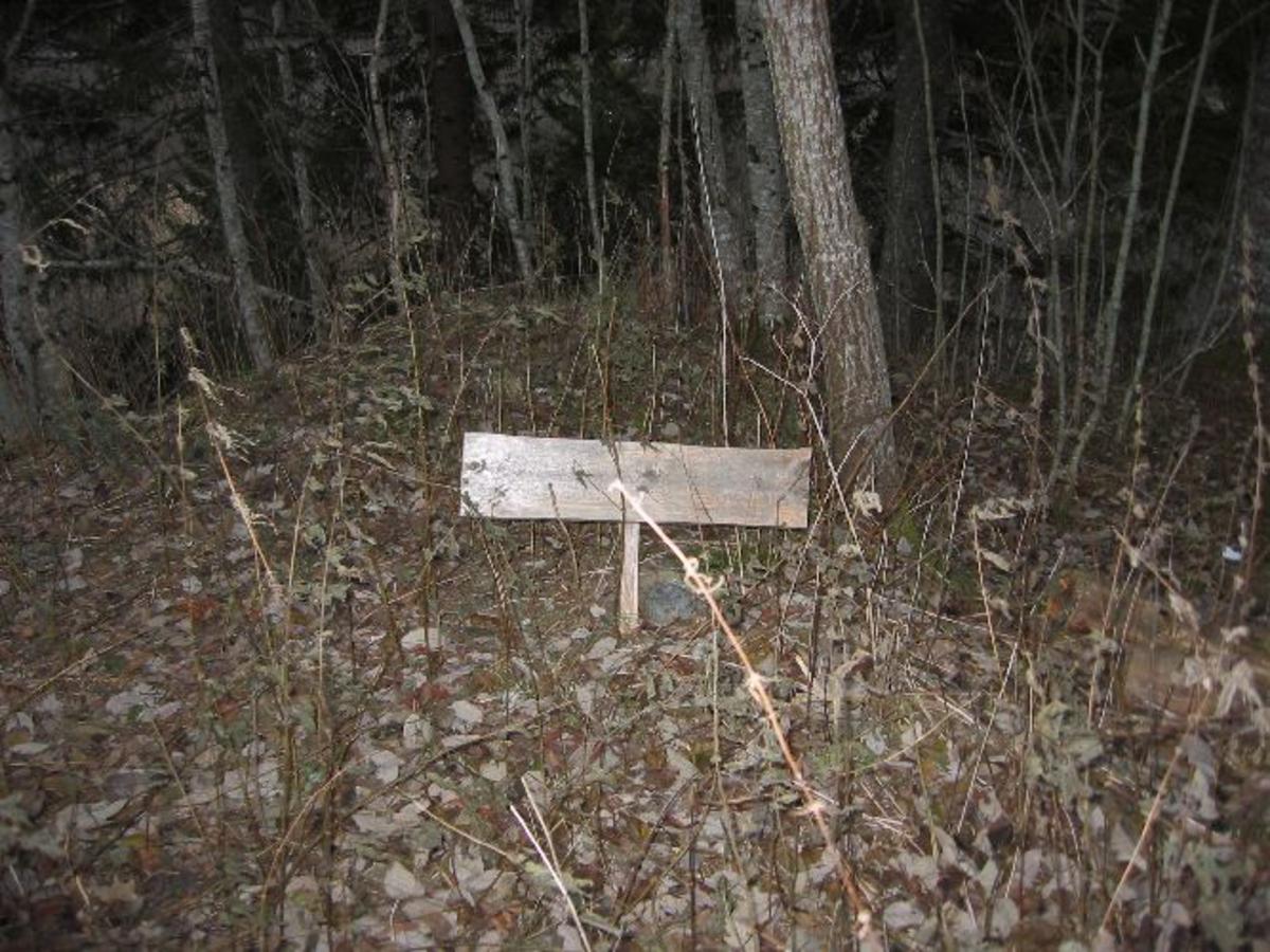 Treskilt som markerer stedet for Skanse I ved Fordal skanse.