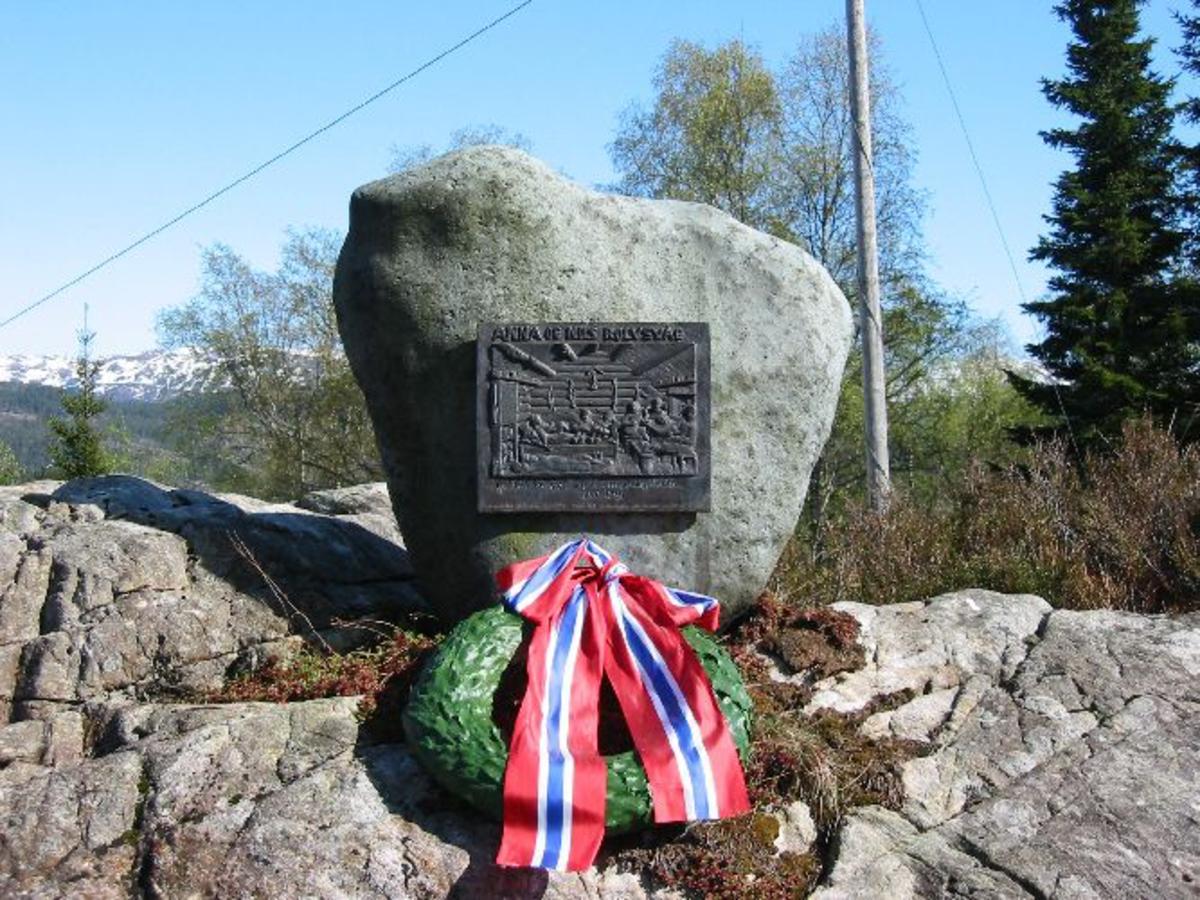 Motiv fra Botnahytta etter tresnitt av Jakob Helle.