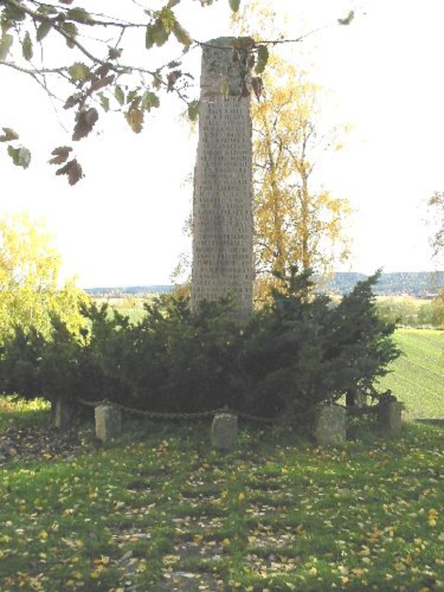 Ca 6,5 meter høy bauta. Området rundt avgrenset med kjetting. Beplantet med krypfuru.