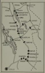 Oversiktskart over steder i Norge hvor det ble kjempet.