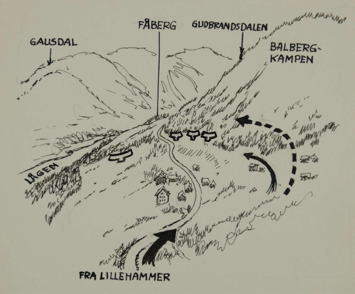fåberg kart Kart over Fåberg   Gausdal   Gudbrandsdalen.   Forsvarets museer  fåberg kart