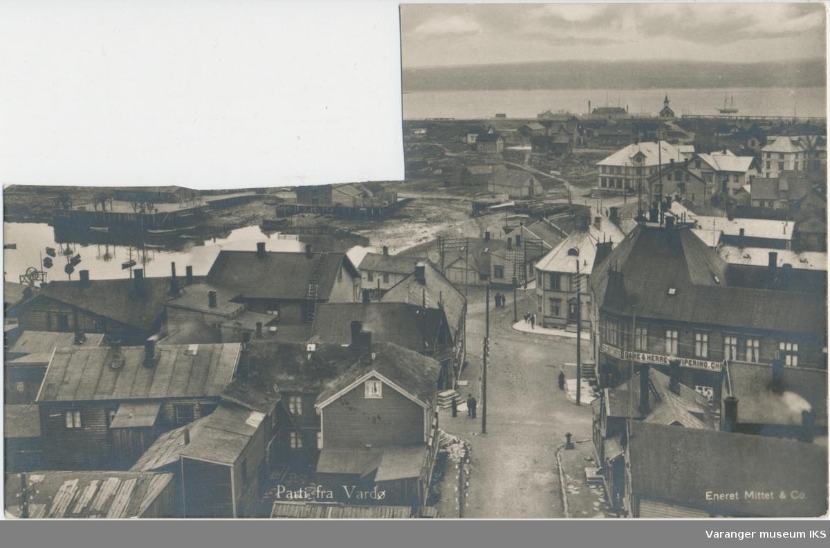Postkort, Valen og deler av sentrum, sett fra kirketårnet, ca. 1915