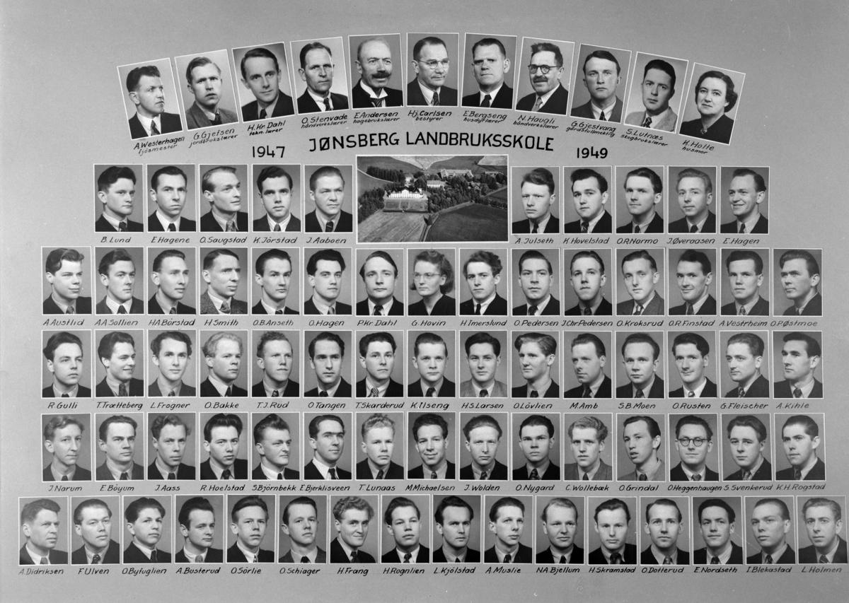 Gr: Jønsberg landbruksskole, montasje, 1947-49, Romedal i Stange. Tidl. Normann nr: 35482.   Øverst fv: fjøsmester A. Westerhagen, jordbrukslærer G. Gjefsen, tekn. lærer H. Kr. Dahl, håndverkslærer O. Stenvade, hagebrukslærer E. Andersen, bestyrer Hj. Carlsen, husdyrlærer E. Bergseng, håndverkslærer N. Haugli, gårdsfullmektig G. Gjestvang, skogbrukslærer S. Lutnæs og husmor K. Holte.  2. rekke fv: B. Lund, E. Hagene, O. Saugstad, K. Jørstad, J. Aaboen, A. Julseth, K. Hovelstad, O. R. Normo, J. Øveraasen, E. Hagen.  3. rekke fv: A. Austlid, A. A. Sollien, H. A. Børstad, H. Smith, O. B. Anseth, O. Hagen, P. Kr. Dahl, G. Hovin, H. Imerslund, O. Pedersen, J. Chr. Pedersen, O. Kroksrud, O. R. Funstad, A. Vestrheim og O. P. Østmoe.  4. rekke fv: R. Gulli, T. Trætteberg, L. Frogner, O. Bakke, T. J. Rud, O. Tangen, T. Skarderud, K. Ilseng, H. S. Larsen, O. Løvlien, M. Amb, S. B. Moen, O. Rusten, G. Fleischer, A. Kihle.  5. rekke fv: J. Narum, E. Bøyum, J. Aass. R- Jpeøstad. S. Bjørnbekk, E. Bjerklisveen, T. Lunaas, M. Michalsen, J. Wolden, O. Nygard, C. Wollebæk, O. Grindal, O. Heggenhaugen, S. Svenkerud og K. H. Rogstad.  6. rekke fv: A. Didriksen, F. Ulven, O. Byfuglien, A. Busterud, O. Sørlig, O. Schiager, H. Frang, H. Rognlien, L. Kjølstad, A. Muslie, N. A. Bjellum, H. Skramstad, O. Dotterud, E. Nordseth, I. Blekastad og L. Holmen.