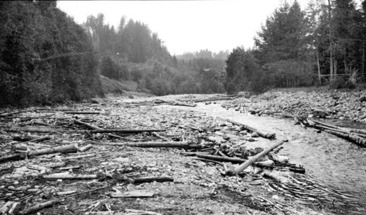 Fra Stokke lense på Biri, på Mjøsas vestside.  Fotografiet skal være tatt i 1913, antakelig tidlig på våren, da vannstanden i Mjøsa var meget lav.  I forgrunnen ser vi ei steinete strand mot Stokkeelvas utløp, lengre ute skimter vi pælerekka som var den ytre avgrensningen for lenseanlegget som samlet opp løstømmeret som ble fløtet ned Stokkeelva, og som skulle «moses» (buntes) før det kunne bukseres videre sørover langs Mjøsa.  Det vassdraget som renner ut i Mjøsa ved garden Stokke i Biri har sine øverste kilder i Bergevatnet i den østre delen av Nordre Land kommune.  Derfra renner det ei lita å som kalles Finna sørøstover gjennom et berglendt og bakkete terreng i Finndalen med retning mot Snertingdalen i Biri prestegjeld.  Her renner den etter hvert ut i den 4,5 kilometer lange Ringsjøen.  Fra utløpet av denne sjøen dreier vassdraget mer østlig under navnet Stokkeelva.  Her er elveløpet om lag 20 meter bredt, men har en nokså steinete botn.  På denne strekningen var elva fram til 1964 grense mellom Vardal og Biri kommuner.  Vassdraget har et nedslagsfelt på om lag 225 kvadratkilometer.  Fløtinga i vassdraget var lenge regulert av en kongelig resolusjon om fellesfløting av 21. oktober 1893.  I de første åra etter at denne resolusjonen ble vedtatt ble det i gjennomsnitt fløtet om lag 4 000 tylfter tømmer (48 000 stokker) i Stokkeelva, som ble samlet, sortert og buntet for videre fløting i Stokkelensa.