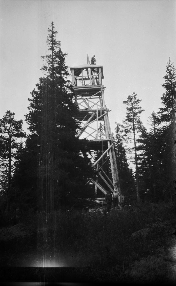Brannvaktårnet ved Lundbergseteter fotografert i 1936.  Fotografiet viser et stolpetårn av vanlig type.  Tårnet har noenlunde kvadratisk grunnplan.  Det er bygd av stolper som er reist i en bratt, pyramidal form med stolpekryss i tre nivåer på alle fire sider som avstiving.  Adkomsten til utkikkshytta på toppen skjedde via to horisontale plattformer og stiger opp til ei luke i hyttegolvet.  Da fotografiet ble tatt var tårnet under oppføring.  Bindingsverkshytta hadde ennå ikke fått bordkledning og vinduer.  En mann arbeidet på pyramidetaket, der det ble montert lynavleder.  Tårnet ble bygd på et høgdedrag med litt glissen barskog.