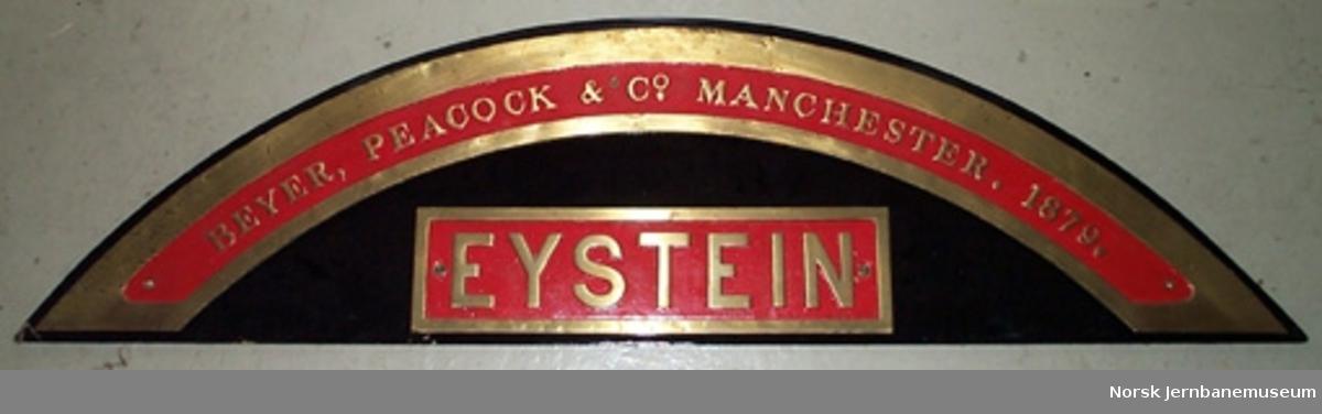"""Fabrikkskilt fra Beyer, Peacock : fra damplokomotivet """"Eystein"""", type 9a nr. 115"""
