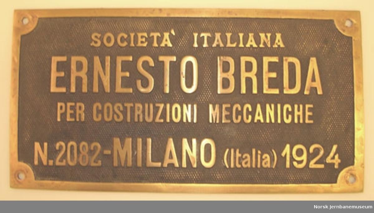 Fabrikkskilt fra Ernesto Breda : fra NSB damplokomotiv