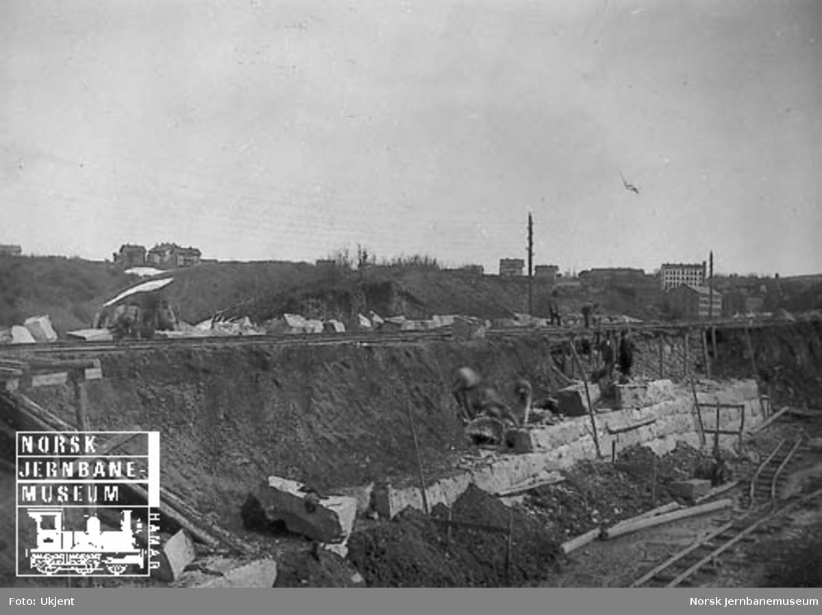 Anlegg av skjæring for godssporet ovenfor Nygård