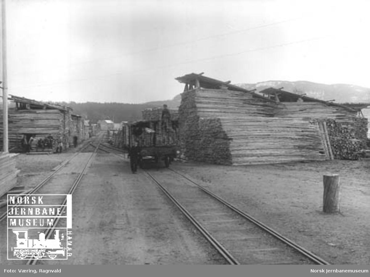 Trelastlager og lastearbeidere på Steinkjer stasjon