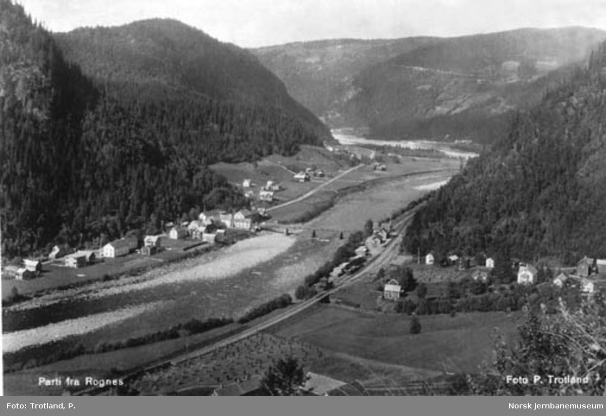 Oversiktsbilde over Rognes med stasjonen og brua før flommen
