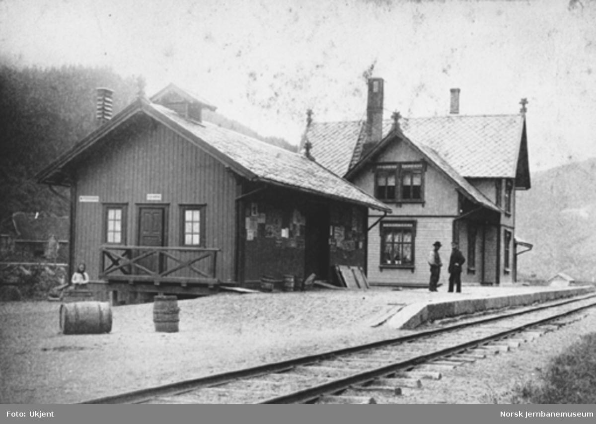 Rognes stasjon med godshus og stasjonsbygning; to mann på plattformen