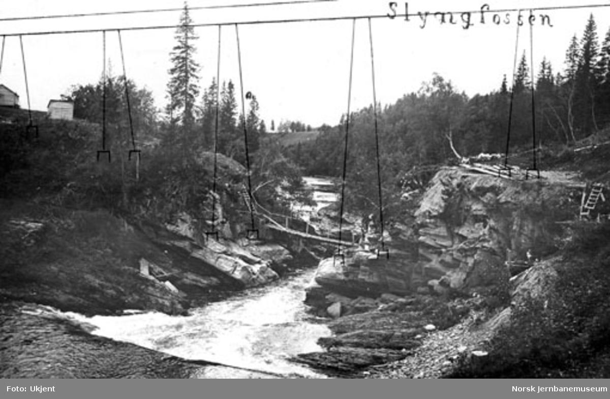 Grana bru : brustedet ved Slyngfossen med inntegnet bruføring