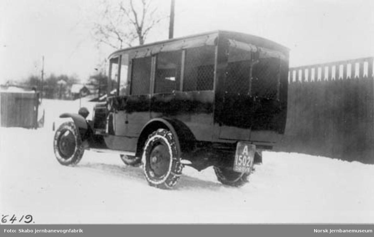 Fiat varebil til Sandbæk & Aaserud; med prøveskilt A-15021