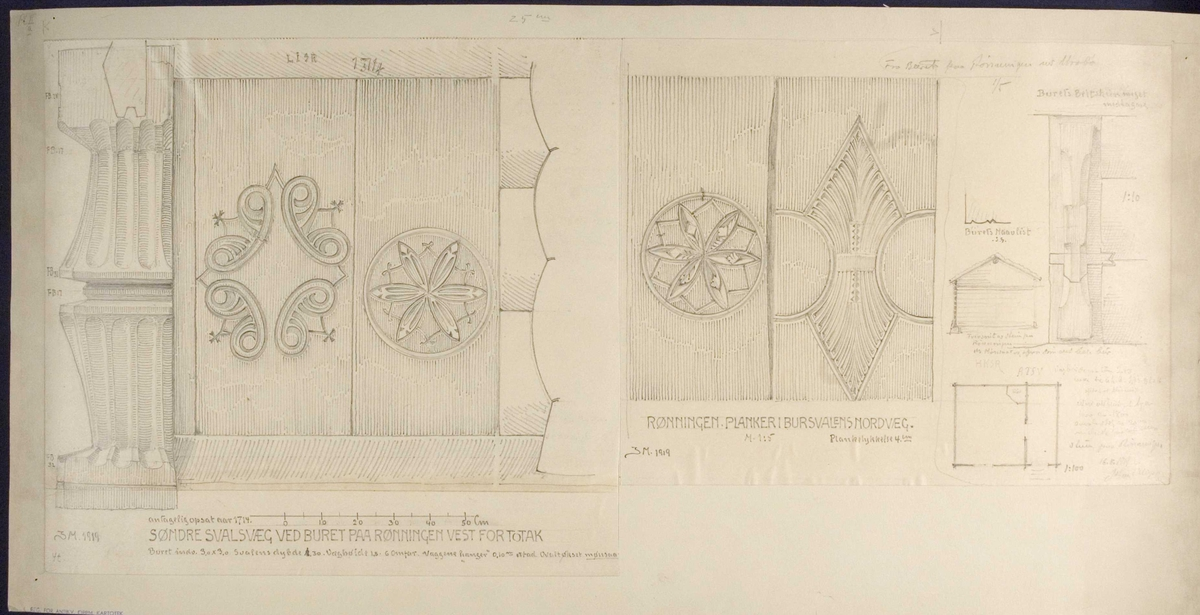 Johan J. Meyers tegning (1919) av svalvegger og bygningsdetaljer på bur, ant. fra 1714, Runningen, Vinje, Telemark.