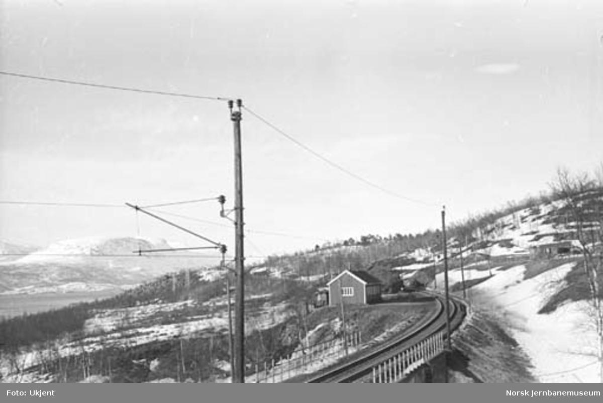 Ofotbanen : km 4,1 med banebu, like ovenfor Taraldsvik bru