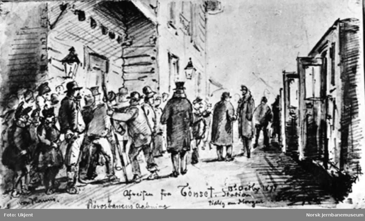 Tegning av von Hanno : Rørosbanens Aabning - Afreisen fra Tønset Station tidlig om Morgenen 13 Octr. 1877