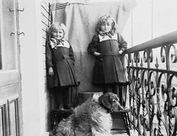 Karen og Gudrun Q. Wiborg med hund fotografert på balkong, a