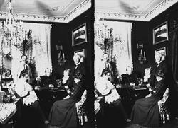 Interiør, gruppe samlet rundt bord i stue, Meltzers gate 9,