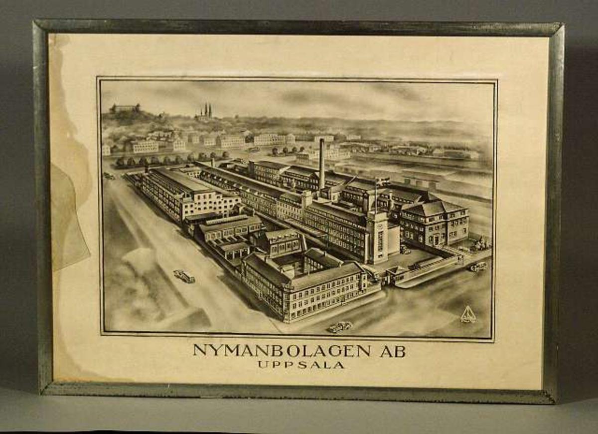 Föreställer cykelfabriken Nymans Verkstäders fabriksanläggning i kvarteret Noatun, Uppsala.