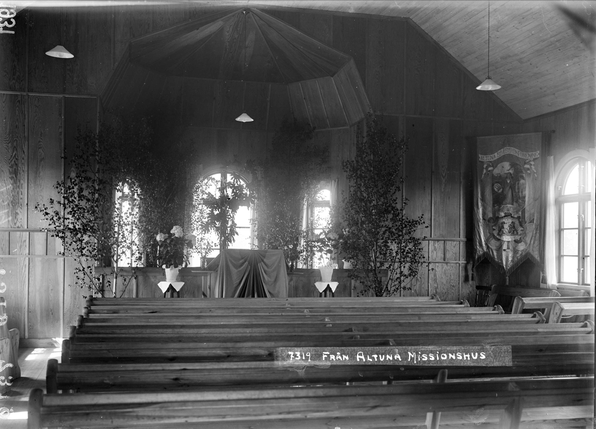 Interiör i Altuna missionshus, Altuna socken, Uppland 1931