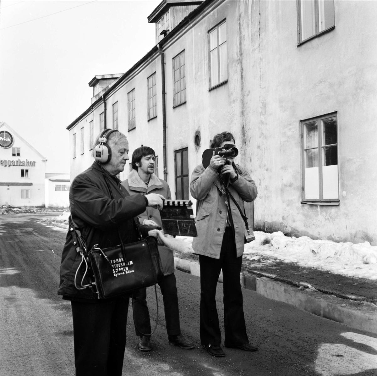 """""""C-läns kommunblock i TV, ortsproblem skildras"""", Tierp, Uppland mars 1973"""