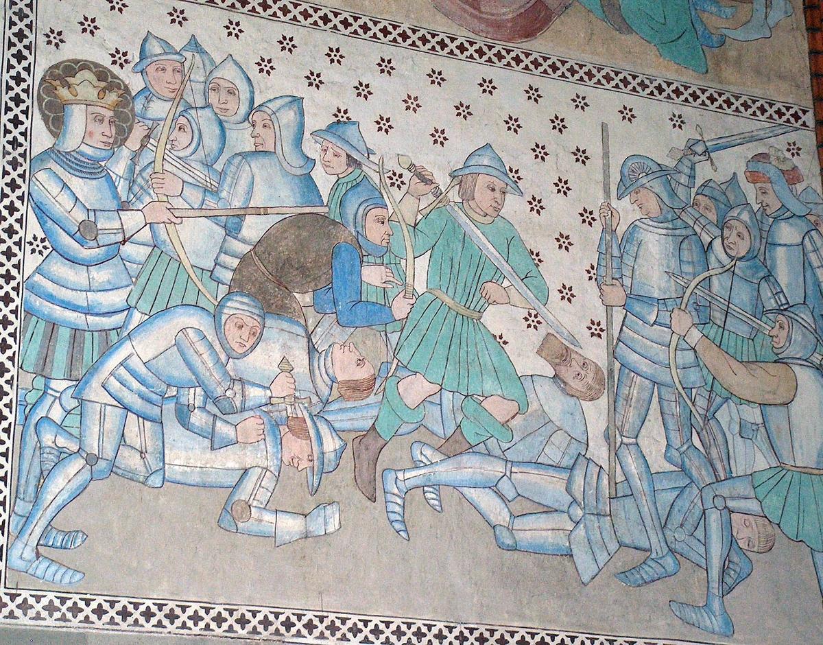 Sankt Eriks sista strid och martyrium. Felaktigt restaurerad scen på västväggen i det De Geerska koret, Uppsala domkyrka, Uppsala 2007