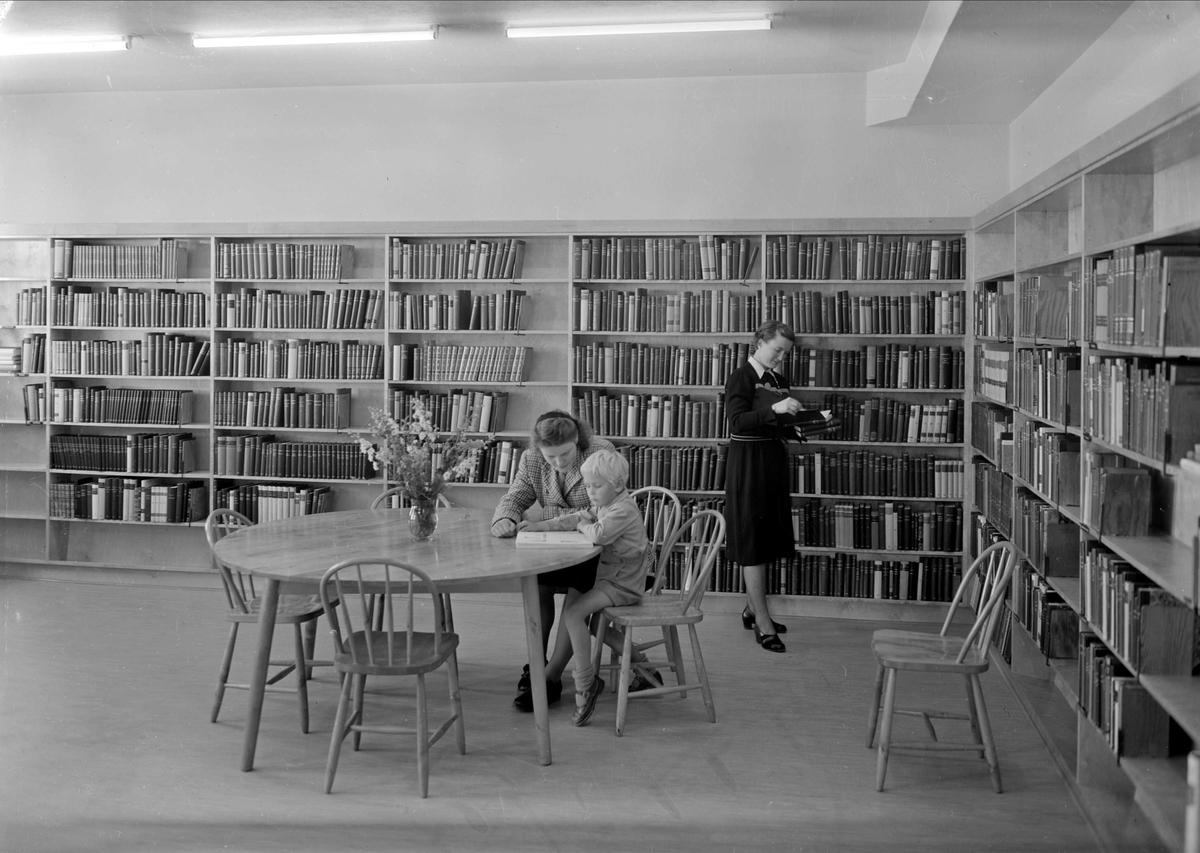 Domarringens skola, Svartbäcken, Uppsala - skolbibliotek 1948