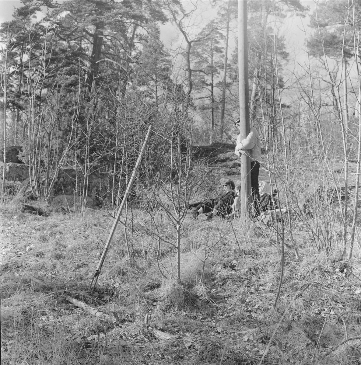Folkhögskoleelever i Wiks slottspark, Vik, Balingsta socken, Uppland 1965