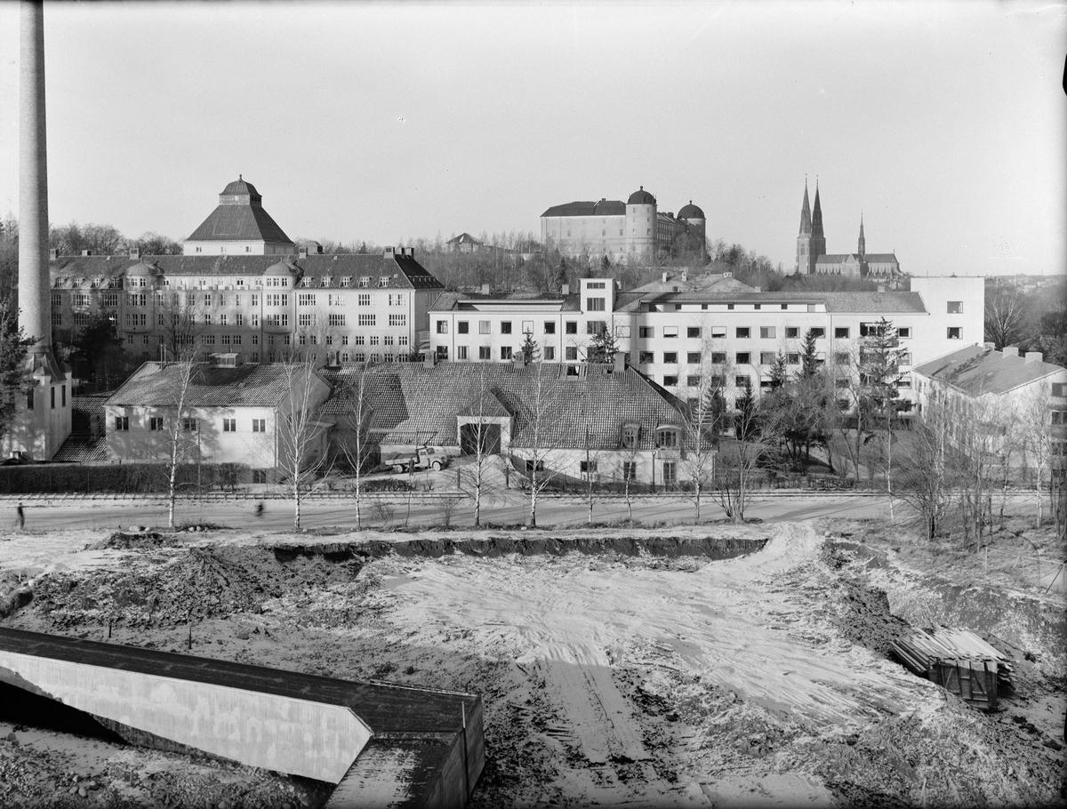 Akademiska sjukhuset, Uppsala slott och Uppsala domkyrka, Uppsala januari 1949
