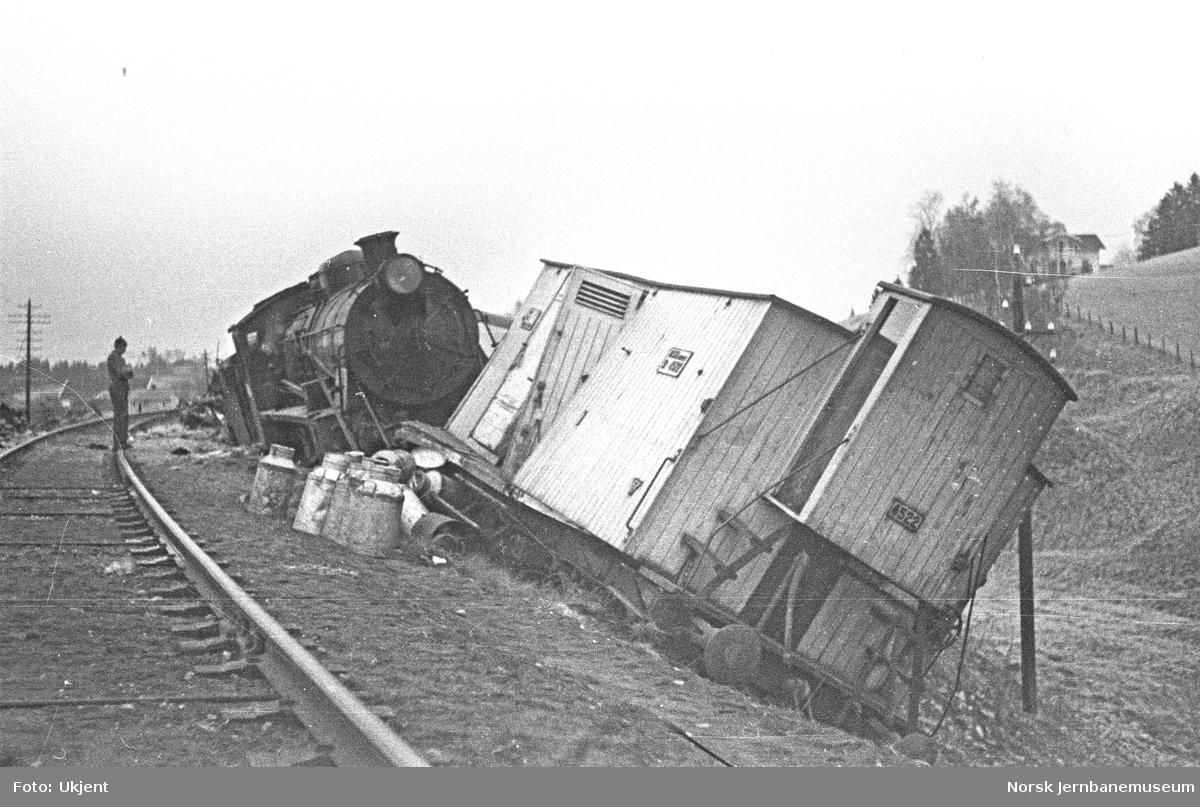 Avsporet godstog ved Frogner