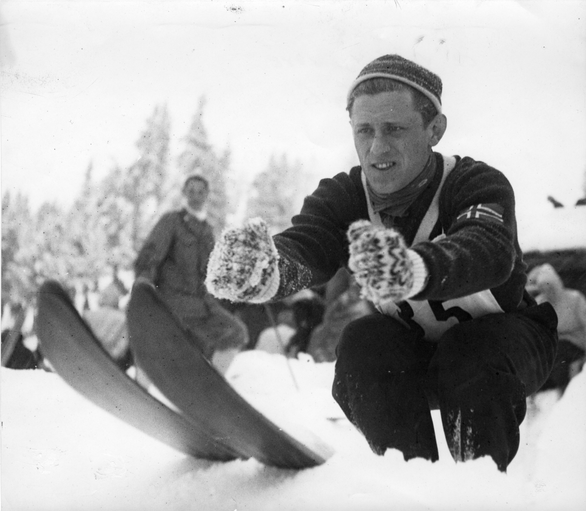 Petter Hugsted i OL i St. Moritz 1948. Petter Hugsted in the Winter Olympics in St. Moritz 1948.