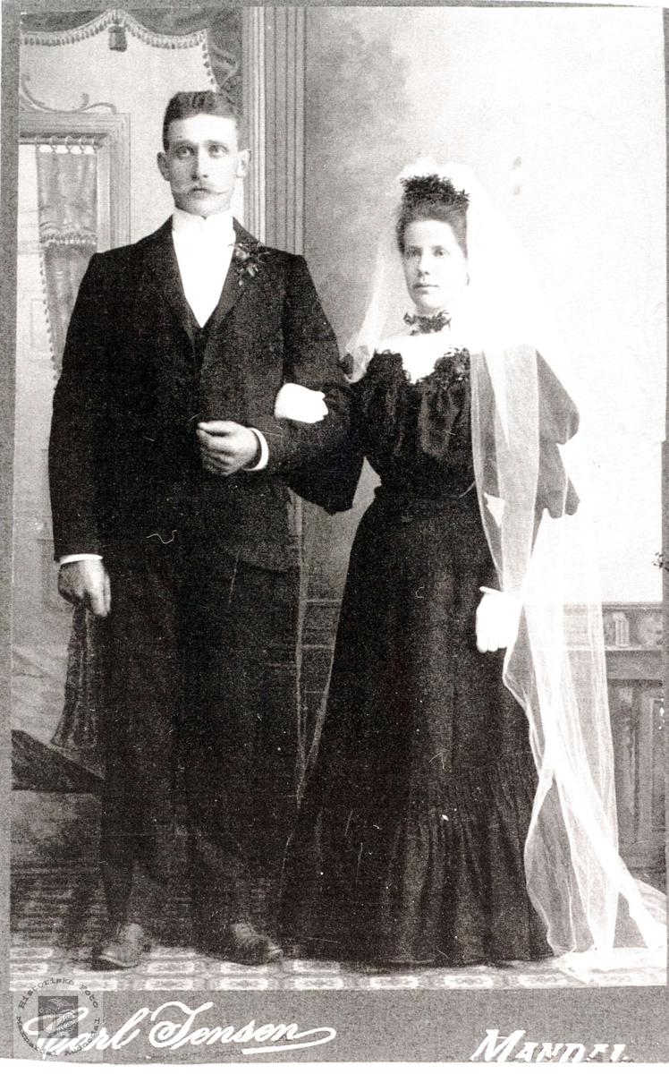 Brudeparet Ola og Anna Øyslebø. Anna fra Grindheim og Ola fra Øyslebø.