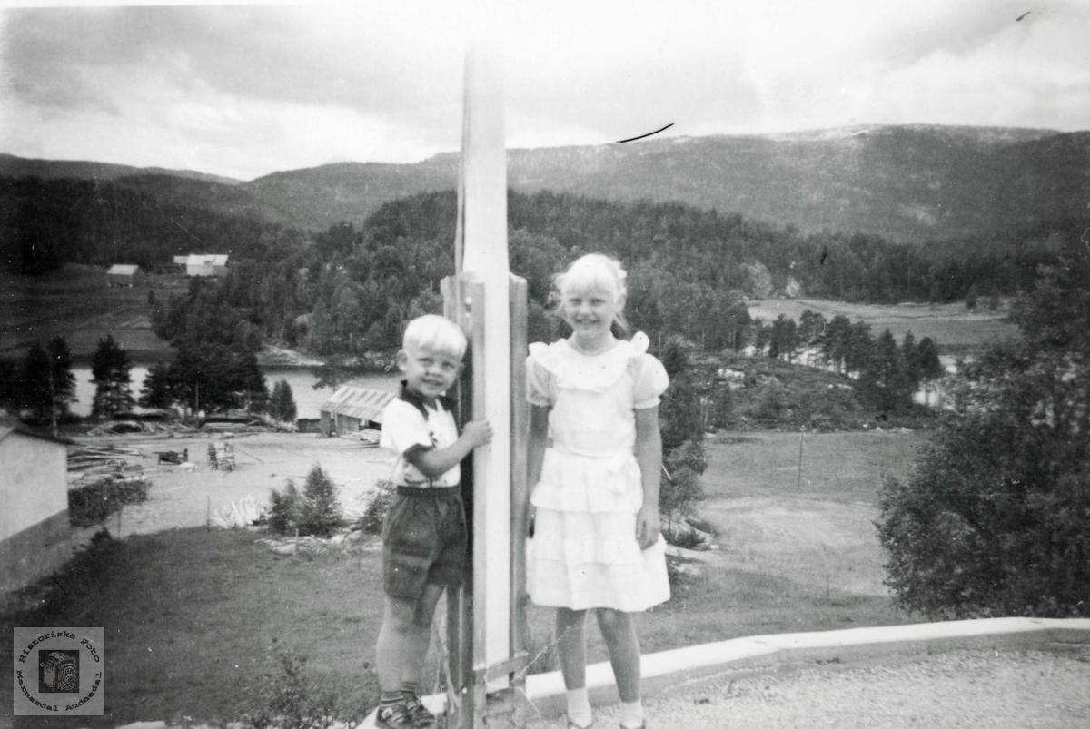 Toralf og Åsta Tveit ved flaggstanga. Sveindal Grindheim Audnedal.