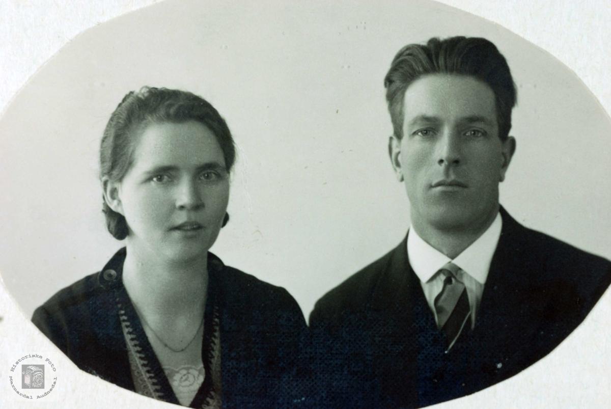 Portrett av Anna og Torkel Øydna. Grindheim Audnedal.