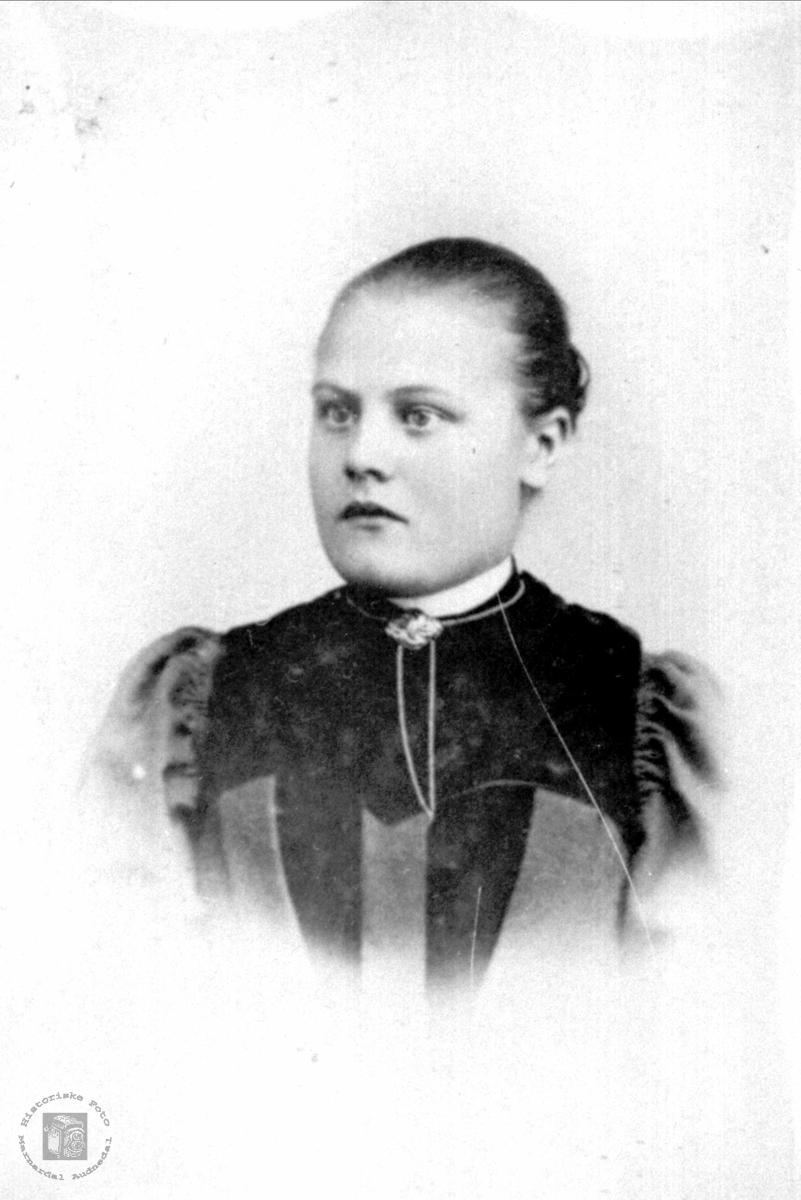 Portrett av ukjent dame trolig med røtter fra Bjelland eller Grindheim.