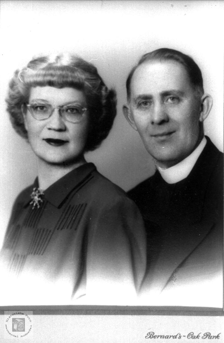 Portrett av ekteparet Martin og Mabel Ødegård i USA. Røtter fra Bjelland, nå Audnedal.