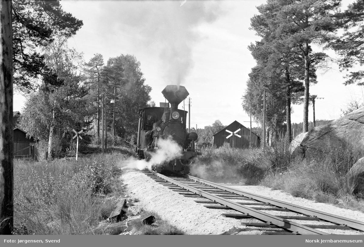 Damplokomotiv nr. 5 med nordgående godstog 5661 forlater Hornnes stasjon