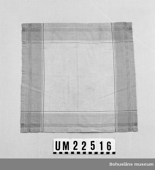 594 Landskap BOHUSLÄN  Bård av grått fält och svarta och vita linjer. Slätt ljusgrått mittfält  UMFF 113:8