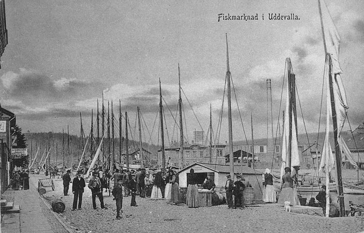 """Text på kortet: """"Fiskmarknad i Uddevalla"""".  Enligt tidigare noteringar: """"Fiskmarknad i Uddevalla"""". Fiskförsäljning på kaj vid Bäveån,  en mängd master på fiskebåtar synes.  Repro 1984 av äldre vykort""""."""