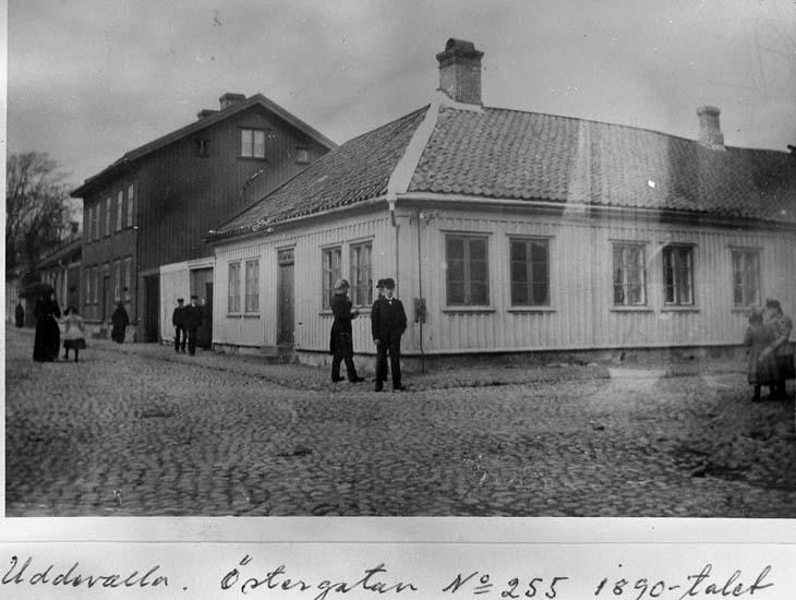 """Text på kortet: """"Uddevalla, Östergatan nr 255 1890-talet"""".    ::"""