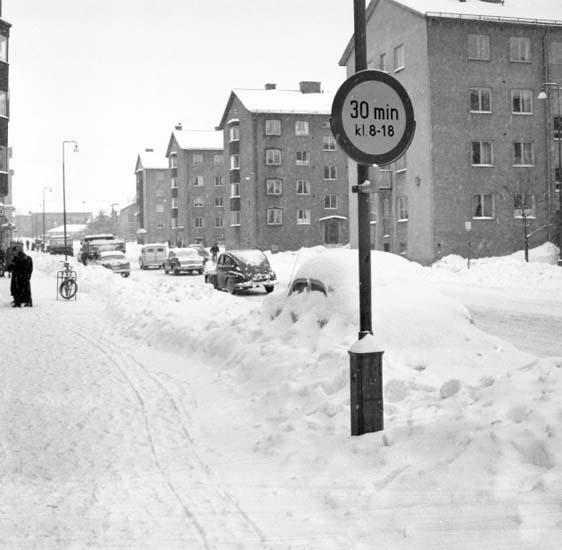 Snödrivor på Strömstadsvägen vintern 1959