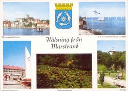 """Tryckt text på kortet: """"Hälsning från Marstrand.""""  """"Marstra"""