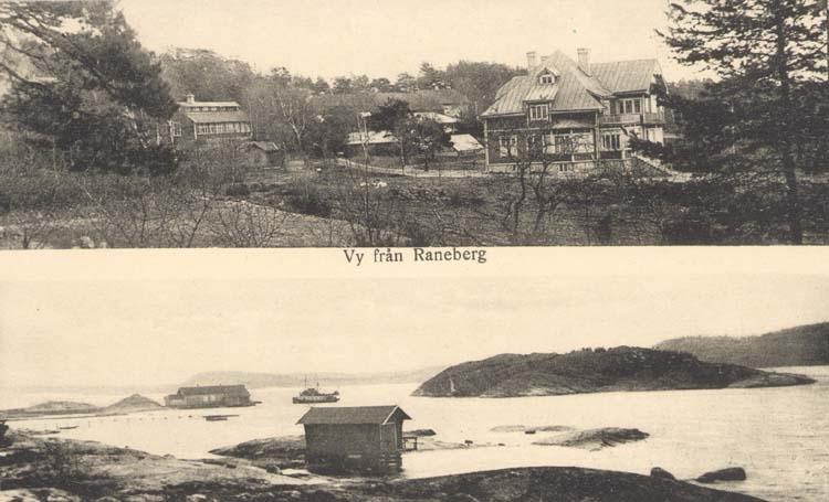 """Tryckt text på kortet: """"Vy från Raneberg."""" """"Förlag: Dahlberg, Resteröd."""""""