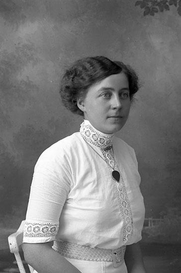 """Enligt fotografens journal Lyckorna 1909-1918: """"Hansson, Fr. Karin Ljungskile""""."""