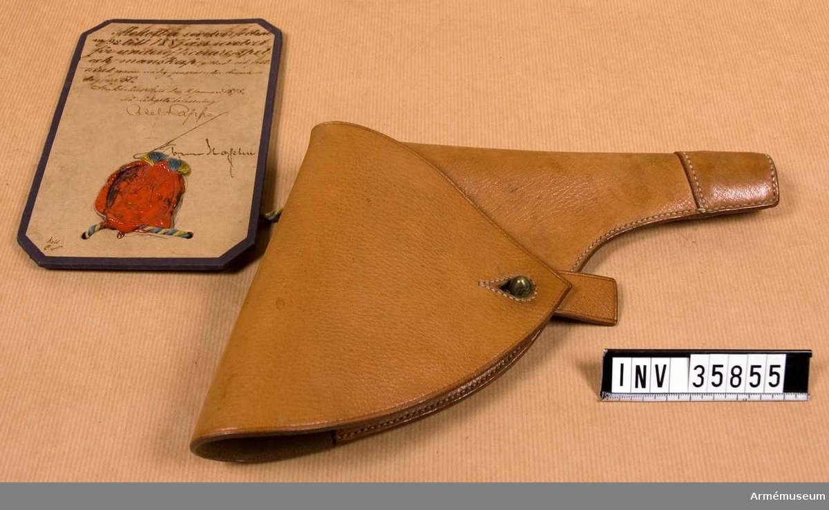 Grupp E III h.  Modell å revolverfodral för underofficerare, spel och manskap, gillad och fastställd genom nådig g.o. den 11 januari 1898, nr 30.
